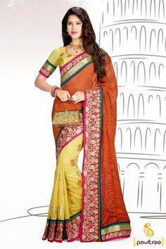 Frightening georgette yellow orange designer embroidery party wear saree will provide you gorgeous look with cream embroidery patch work and lovely print work.  #pavitraa, #sarees, #designersarees, #partywearsaree, #weddingsarees, #casaulsaree, #bridalsarees, #bollywoodsarees, #printedsarees, #onlinesarees, #onlineshopping, #lehengasarees