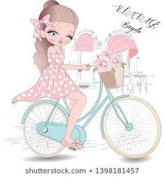 Vector de stock (libre de regalías) sobre La Bicicleta de Amo Niña Flora1257097261 Vintage Moped, Vintage Bicycles, Little Girl Drawing, Art Mignon, Photo Heart, Cute Beauty, Cute Art, Art Girl, Pop Art