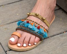Handmade Bohemian Leather Sandals Decorated with Beads, Tassels, and Ornaments, Boho Chic Hippie Beaded You can decorate your hands, ears, neck & now also … your feet! So … take a walk on the wild side. These sandals are not only stylish but they are also extremely comfortable. This