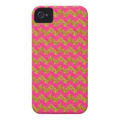 Glitter Chevron, Pink-Gold iPhone 4 Case #zazzle #iphone4 #phonecases #chevron #glitter #pink