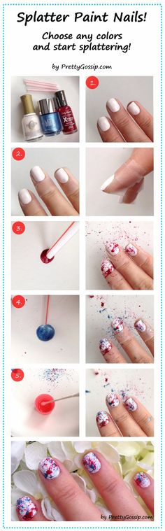 Easy Ways to Paint Nails - Splatter Paint Nails - Quick Tips and Tricks for Manicures at Home - Nail Designs and Art Ideas for Simple DIY Pedicures and Manicure at Home - Hacks and Tutorials with Cool Step by Step Instructions and Tutorials - DIY Projects and Crafts by DIY JOY http://diyjoy.com/easy-ways-to-paint-nails