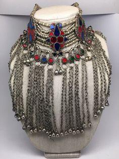 Vintage Big Afghan Kuchi Jingle Bells Chain Boho Bib ATS Choker Necklace,V126
