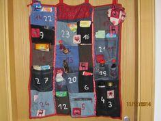 Adventkalender aus Jeanstaschen