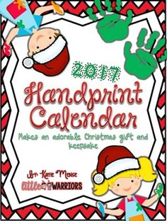 **UPDATED FOR 2017** This pack includes everything that you need to make a handprint calendar. These are such an amazing Christmas gift and keepsake for parents that will be treasured forever. This pack will be updated each year so that you can continue to use it year