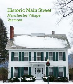 A home built in the 1860s on Route 7A in Manchester Village, Vermont. The house includes a widow's walk.