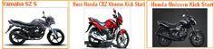 Check out here Compare between Yamaha SZ S, Hero Honda CBZ Xtreme Kick Start and Honda Unicorn Kick Start bikes in india online