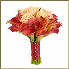 Burnt orange calla lilys and peach roses bridesmaid bouquets
