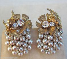 Vintage Miriam Haskell Large Pearl Cluster Crystals Gilt Filigree Earrings SGD | eBay