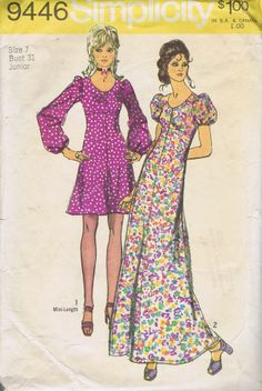 "MISSES EMPIRE DRESS SEWING PATTERN SIMPLICITY 9446 SZ 10 BUST 32.5 HIP 34.5"" CUT"