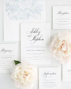 Classic Wedding Invitation Suite with Light Blue Envelope Liner and Enclosures