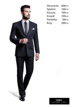Propozycja Giacomo Conti z klubową marynarką Carlo 2 A13/34B (100% wełna), koszulą maklerską Michele 13/09/45 oraz czarnymi spodniami Augusto 13/24 S #giacomoconti