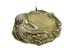 Art Nouveau Bronze Pendant Young Woman thinking by Tezsahcom https://www.etsy.com/listing/253041210/art-nouveau-bronze-pendant-young-woman?ref=rss