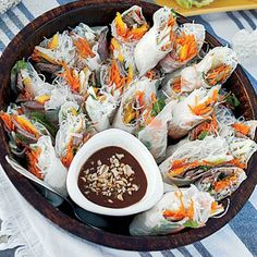 Hoisin Beef Spring Rolls | These rice paper-wrapped spring rolls are ideal for an outdoor party—no utensils required.