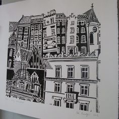 City Windows lino print ref An original single colour hand printed linocut, from an edition of This is an amalgamation of the photo's I took of the beautiful architecture when I visited this European city September Look out for the domed. Linolium, Lino Art, Keramik Design, Architectural Prints, Linoprint, A Level Art, Monochrom, Tampons, Linocut Prints