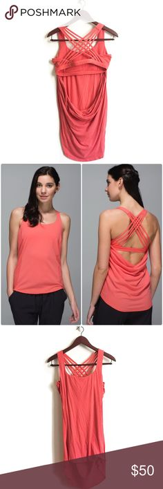 Lululemon Top ▫️Lululemon Top Low-cut armholes  ▫️Lightweight ▫️Cottony-soft ▫️Luxtreme fabric built-in bra is four-way. Added LYCRA fibre for great shape retention ▫️Draped open back  ▫️Good Preowned Condition lululemon athletica Tops