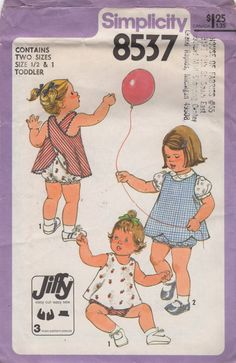 Simplicity 8537 1970s Infants Reversible Criss Cross Back Dress Panties Pattern Girls Vintage Sewing Pattern Size 1/2 1 Breast 19 20 UNCUT on Etsy, $12.00