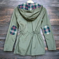 2016 Spring Autumn European Style Womens Plaid Hooded Military Parka Jacket in olive green