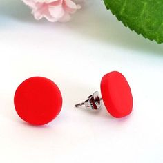 Small Scarlet Red earrings, Matte round or ball stud earrings, Flame red polymer clay earrings Diy Earrings Polymer Clay, Handmade Polymer Clay, Earrings Handmade, Red Earrings, Small Earrings, Riverdale Book, Disappointed, Summer Outfit, Scarlet