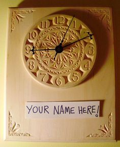 Beautiful personalized chip carved clock. $180.00, via Etsy.