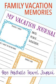 Free Printable Travel Journal for Kids Capture your family vacation memories with a free printable journal page for kids! Create a DIY kids travel journal with this free printable - perfect for your next vacation! Travel Journal Pages, Travel Journal Scrapbook, Travel Journals, Travel Journal For Kids, New Travel, Travel With Kids, Family Travel, Travel Books, Family Family