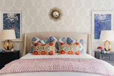 Katie Ridder beautiful leaf wallpaper along with more John Robshaw fabric and vintage Suzani pillows