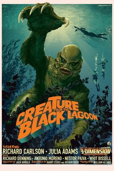 Universal Classic Monsters Movie Poster : The Creature From The Black Lagoon 3 D 1954 by Stan & Vince @ Mondo. Horror Movie Posters, Old Movie Posters, Classic Movie Posters, Film Posters, Classic Monster Movies, Classic Horror Movies, Classic Monsters, Retro Horror, Vintage Horror