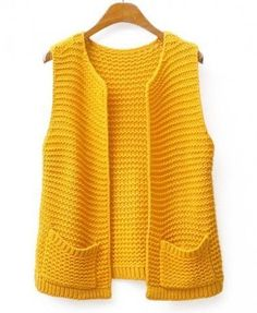 "Chunky Knit Open Front Vest - Clothing ""Discover thousands of images about Chunky Knit Open Front Vest - Clothing"", ""Ritcha - Ri(t)ch Styles"", ""This Baby Knitting Patterns, Knitting Designs, Hand Knitting, Knitting Sweaters, Knitting Ideas, Knitting Needles, Knitting Yarn, Crochet Patterns, Knit Vest Pattern"