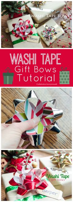 Washi Tape Gift Bows Tutorial. Make handmade Christmas bows using washi tape and paper. Personalize the bow to the giftee using paper that they like. Ex: if they like music, just sheet music paper.