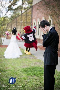 Fun wedding photo ideas, USC Gamecocks, Cocky running off with bride. Football wedding ideas, Columbia SC, Fort Jackson, Officers Ballroom. Henderson Lewis Photography