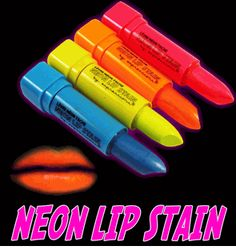 Black Light Responsive Neon Lip Stain (Set of 4 Colors) Black Light Makeup, Dark Makeup, Glow In Dark Party, Glow Party, 80s Party, Halloween Party, Halloween Costumes, Neon Birthday, 13th Birthday