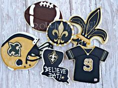 New Orleans Saints Football Cookies - Fleur de Lis - Football- Helmet - Jersey- Black and Gold