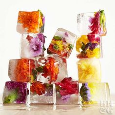 Check out these gorgeous ideas for incorporating edible flowers into your favorite foods like cupcakes, tea sandwiches, cookies, and jams. cake 25 Edible Flower Recipes (Almost) Too Pretty to Eat Bridal Party Foods, Tea Party Bridal Shower, Bridal Showers, Flower Food, Flower Tea, Diy Flower, Flower Ice Cubes, Edible Roses, Zucchini Flowers