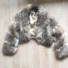 final price Rabbit fur bebe jacket coat Very stylish! Great condition. Used once. Comes from smoke free home. bebe Jackets & Coats