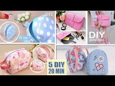 5 DIY CUTEST POUCH DESIGN EVER SEEN MAKING IN 10 MIN You Should Try - YouTube Cute Coin Purse, Diy Purse, Diy Crafts Tv, Diy Videos, Diy Tutorial, Girly, Pouch, Make It Yourself, Purses