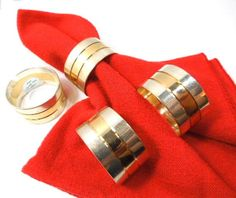 Silver and Brass Napkin Rings Regal Quality Silver by ReneesRetro