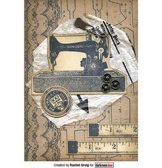 Card by Rachel Greig using Darkroom Door Sewing Machine Eclectic Stamp, Dressmaker and Lace Rubber Stamp Sets.