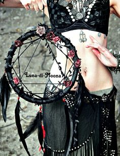 Large Black Dreamcatcher, Gothic Dreamcatcher, Dream Catcher, Boho decor, Dark boho, Dark Dreamcatcher, Tribal style by LunaDiMoona on Etsy