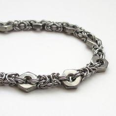 byzantine hex nut bracelet - very cool idea - like the look