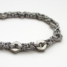 byzantine hex nut bracelet - very cool idea - like the look