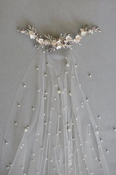 Perla pearl bridal veil pearl veil chapel pearl veil etsy find out who s concerned about wedding veils and why you should pay attention 157 pecansthomedecor com Bridal Veil Plant, Bridal Veils And Headpieces, Headpiece Wedding, Pearl Headpiece, Wedding Garters, Floral Headpiece, Dream Wedding Dresses, Boho Wedding, Vail Wedding