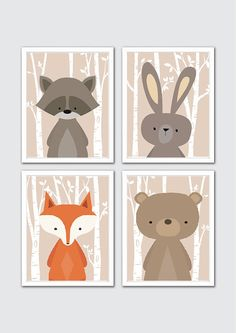 Shop here: https://www.etsy.com/listing/158263378/woodland-animals-nursery-art-woodland?ref=shop_home_active_14