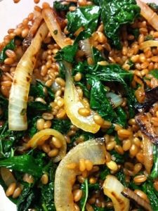 Wheatberries with charred onion and kale