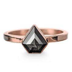 Geometric Black Diamond Engagement Ring by PointNoPointStudio