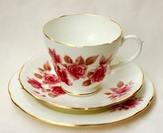 Vintage Duchess Bone China Teacup Tea Cup China Trio 1950s 50s Teaset Pink Floral Pattern by simplicate on Etsy