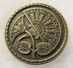 Excellent LARGE Antique~ Vtg Metal Picture BUTTON Ornate Eqytptian Fan Design