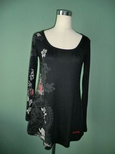 NEW DISIGUAL BLACK FRONT FLORAL PRINT/BACK FLORAL EMBROIDERY LONG TUNIC TOP M #Disigual #Tunic #any