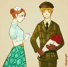 "Arthur and Nyotalia France - Art by bluejamjar.tumblr.com - From the artist's comments: ""Someone requested WWII Fem!FrancexEngland aaand here it is. Marianne works for the French Resistance, Mr. Kirkland was sent there from England to help them, and romance happened (▰˘◡˘▰)"""