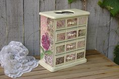 Jewelry Box Shabby Chic Ivory Pink Decoupage by TheVintageArtistry, $95.00