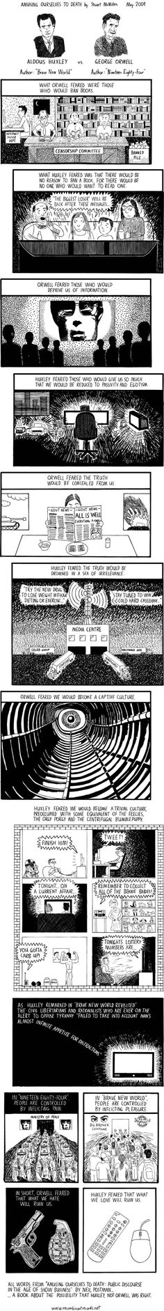 Amusing Ourselves to Death by Neil Postman, on Orwell v Huxley, art by Stuart McMillen May 2009