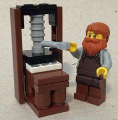 Gutenberg & his press : lego Renaissance And Reformation, Lego Village, Wine Press, Lego Mechs, Printed Matter, Vintage Lettering, Printing Press, Letterpress Printing, Book Making